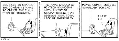 Dilbert and changing company name, by Scott Adams