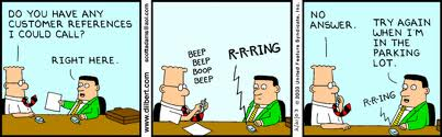 Dilbert on customers references, by Scott Adams